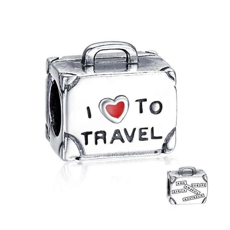 52a4553b2db5 New Arrivals 925 Sterling Silver Travel Suitcase Charm Beads Fit ...