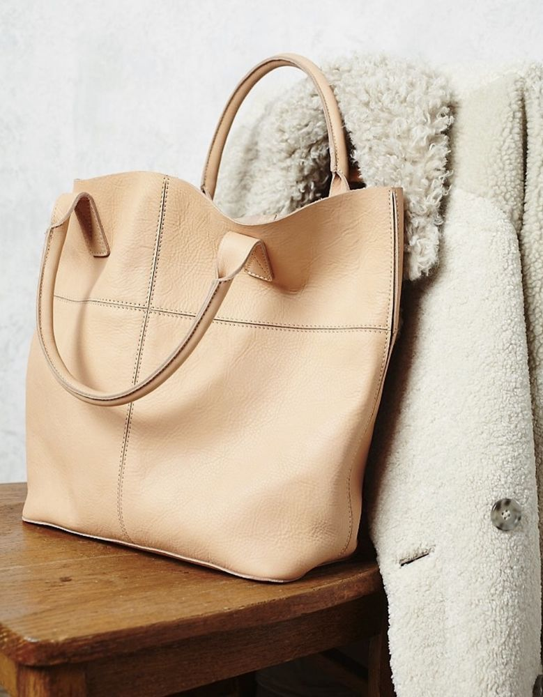 692de0fb41 NWD Free People natural beige leather Legends Of The Fall Tote Bag  168   FreePeople  tote