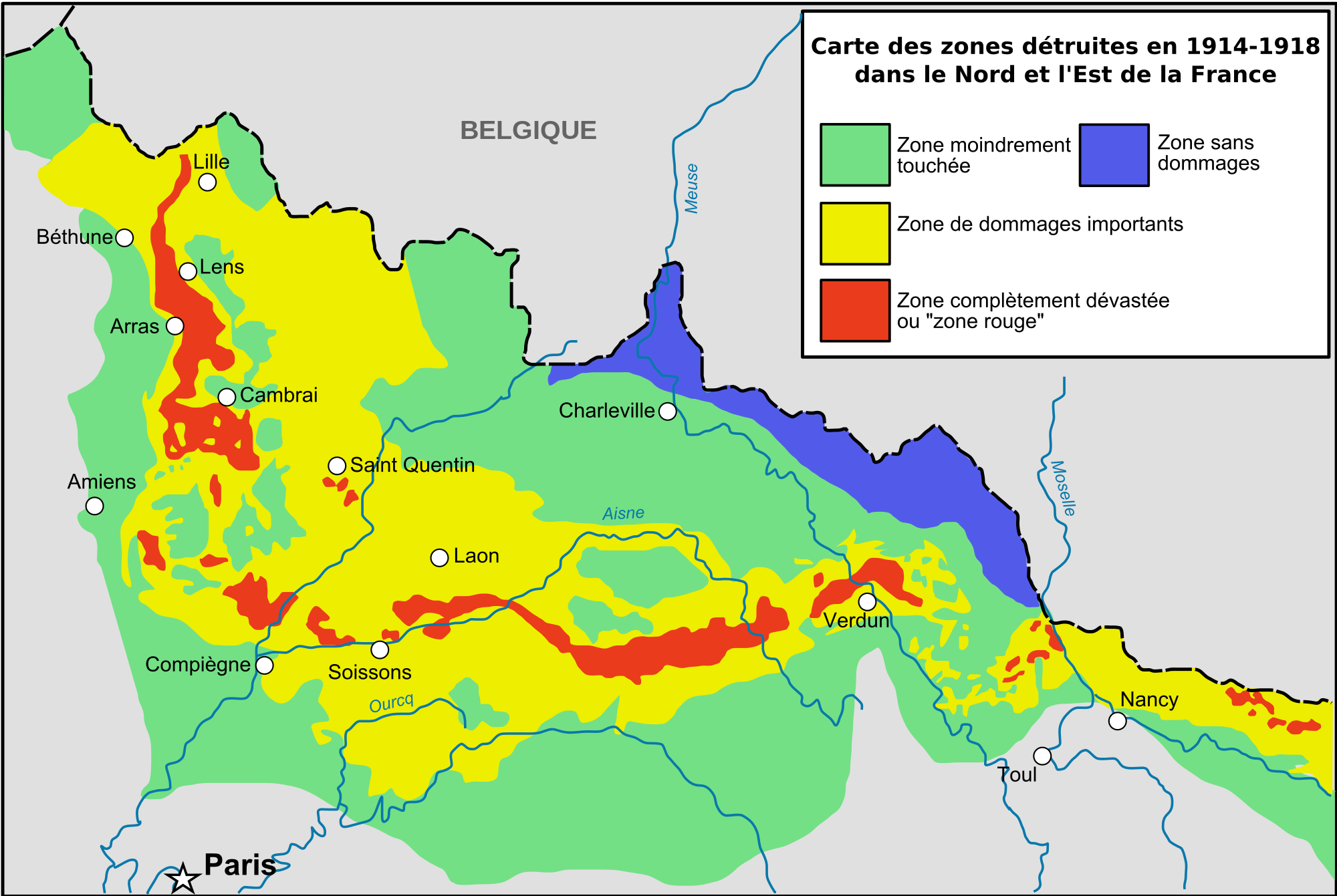 Zone Rouge Map showing condition immediately following