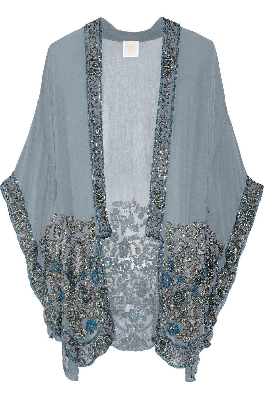 05f0ecdb93a731 Anna Sui - Embellished silk-chiffon kimono jacket
