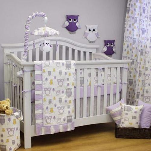 Sweet Kyla Hooty Lilac Crib Set Pb J Crib Bedding Crib