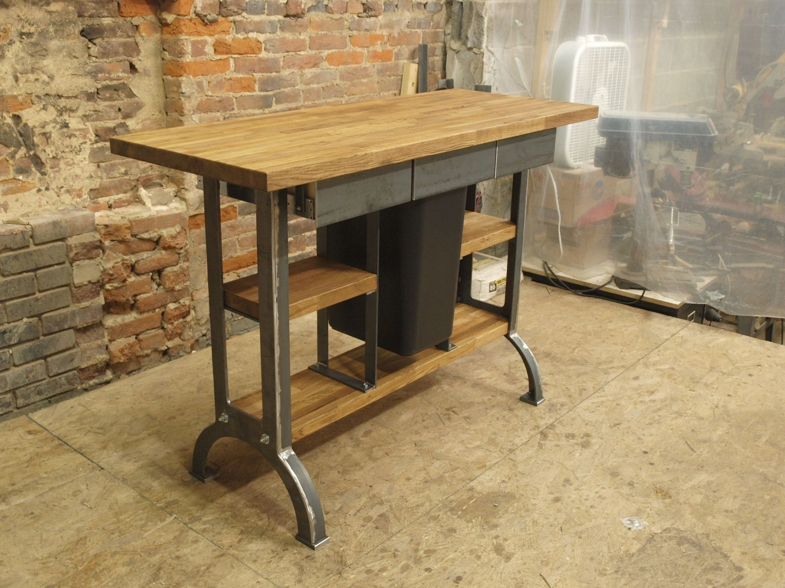 Kitchen prep table marble - Modern Industrial Kitchen Island Console Table