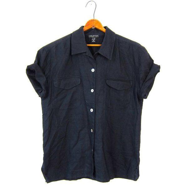 80s HALSTON Black LINEN Blouse Blend Button Up Short Sleeve Basic ...