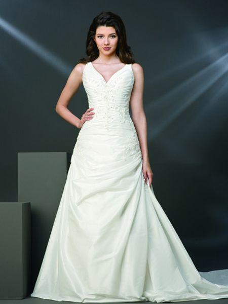 2011 Beaded Appliques Ruffled Elegant Straps Sweep Length V-neck Wedding Dress