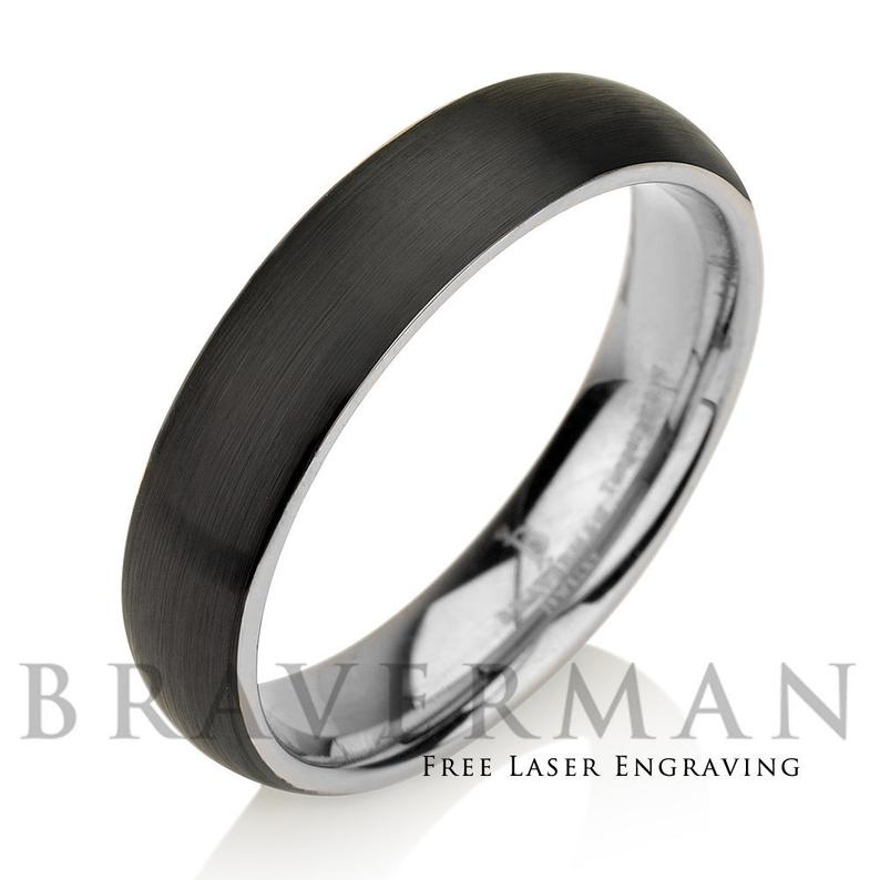 6mm Black With Yellow Gold Tungsten Mens Wedding Band Mens Gold Wedding Band Mens Wedding Bands Black Tungsten Wedding Bands