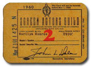 Marilyn MonroeS Personal Screen Actors Guild Membership Card