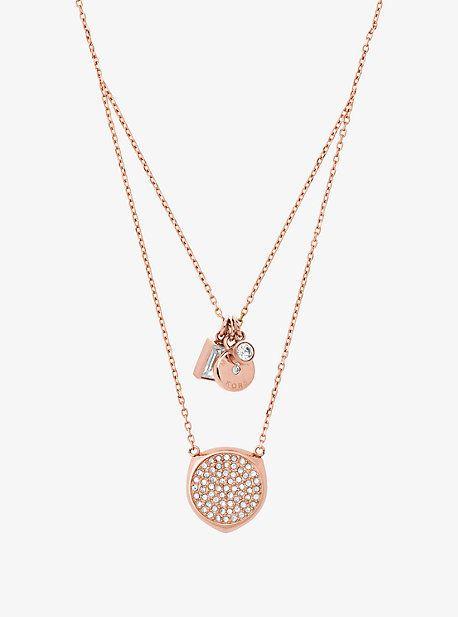 Michael Kors Pave Rose Gold Tone Pendant Necklace With Images Gold Necklace Women Silver Necklaces Women Womens Necklaces