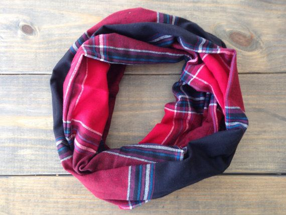 Red and Black Flannel Infinity Scarf by KutKloth on Etsy