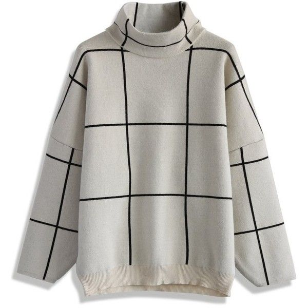 a109a9ddf Chicwish Grid Turtleneck Sweater in White (€34) ❤ liked on Polyvore ...