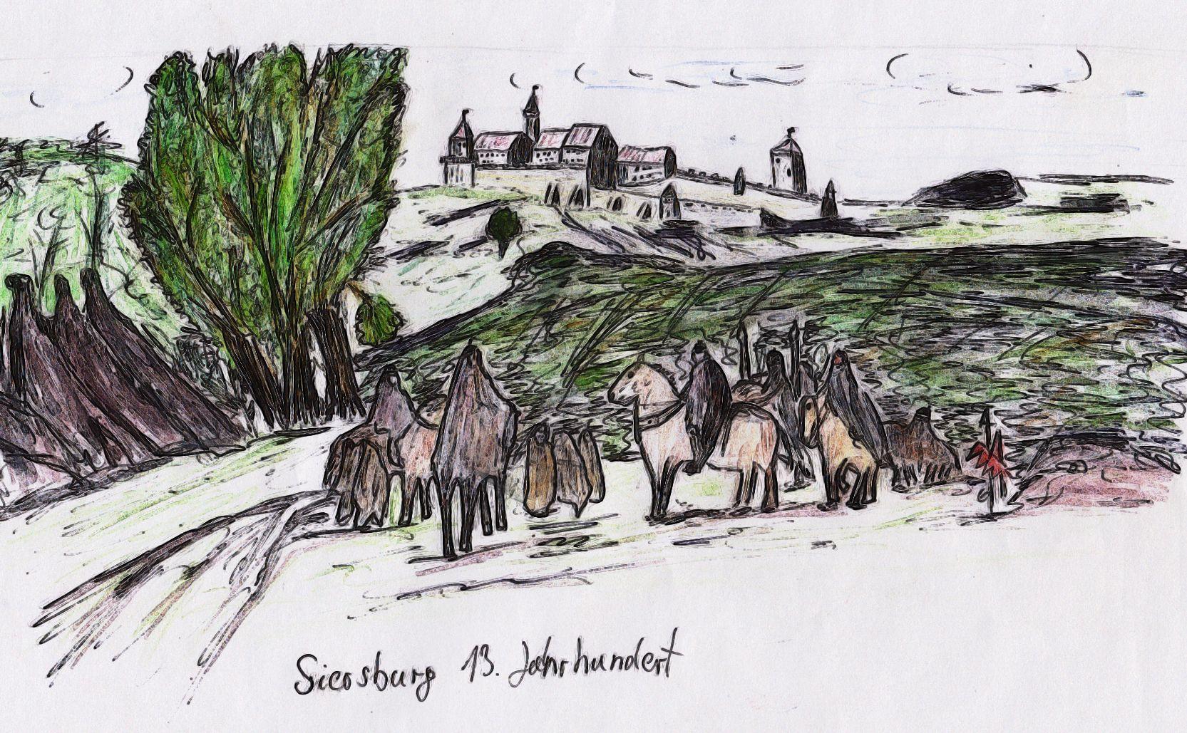 Die Siersburg thronend über der Nied. Im Saarland. Etwa um 1300