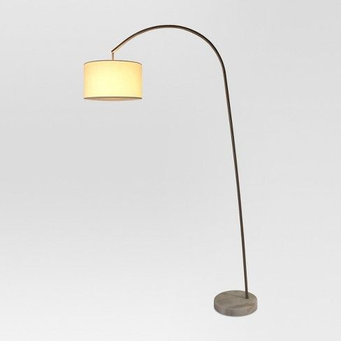 Avenal Shaded Arc with Marble Base Floor Lamp Nickel ...