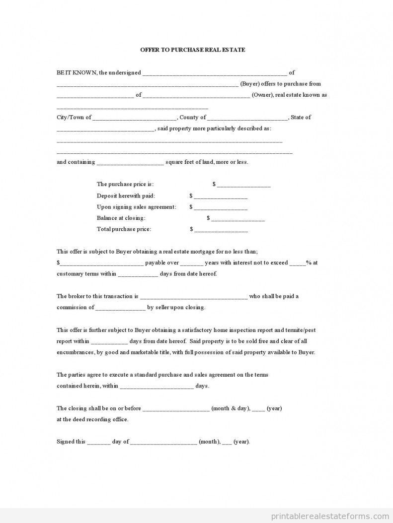 Free Printable Offer To Purchase Real Estate Form Pdf Real Estate Forms Real Estate Real Estate Templates