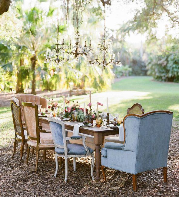 Deco table chic exterieur jardin chateau | Décoration de mariage ...