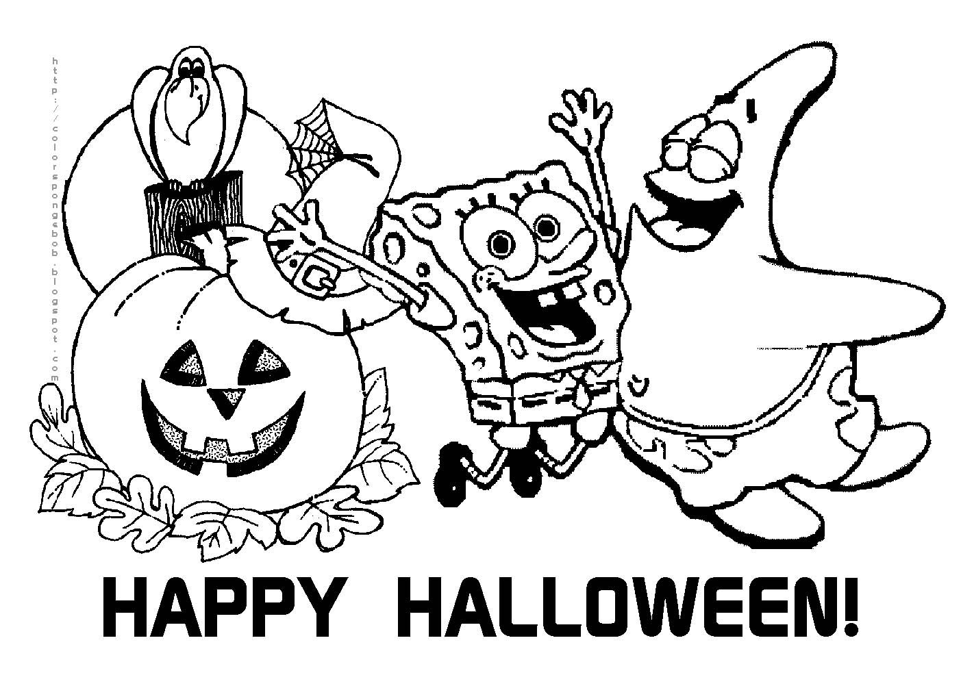 HALLOWEEN SPONGEBOB SQUAREPANTS COLORING SHEET FREE