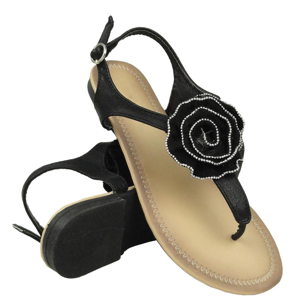 Womens Flat Sandals Beaded T-Strap Rosette Ankle Strap black