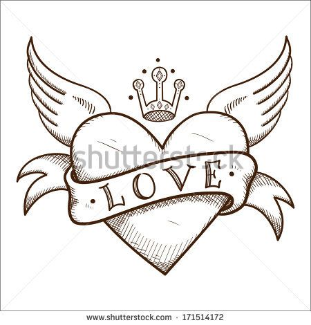 Heart With Banner And Crown Sketch Element For Romantic Design Heart Drawing Heart Coloring Pages Art Drawings Sketches Simple