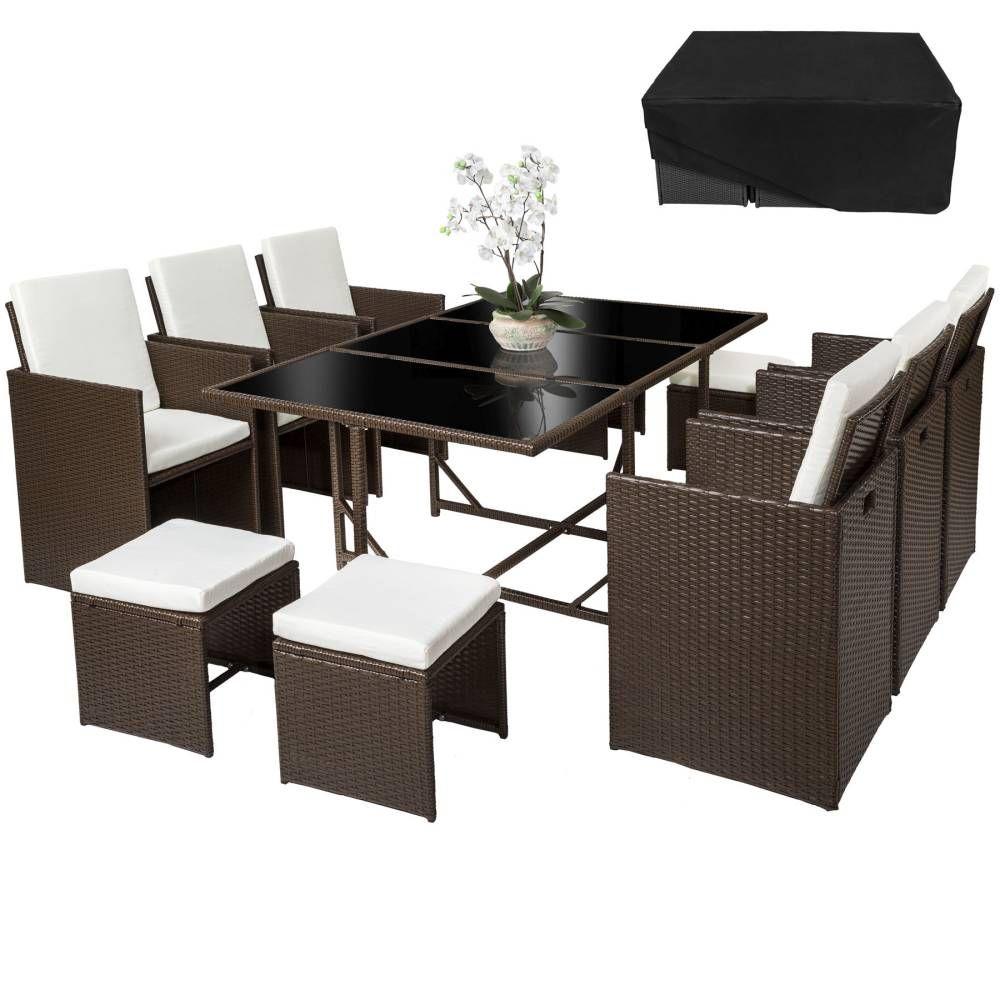 rattan sitzgruppe malaga 6 4 1 mit schutzh lle variante 1 braun schwarz garten und heimwerken. Black Bedroom Furniture Sets. Home Design Ideas