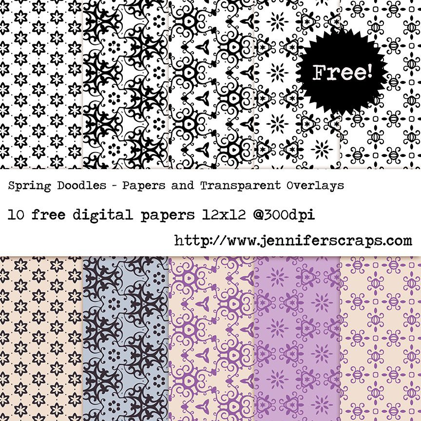 Freebie Paper Pack of the Day – Spring Doodles – Papers and Transparent Overlays
