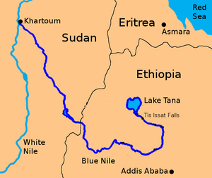 blue nile river in africa map