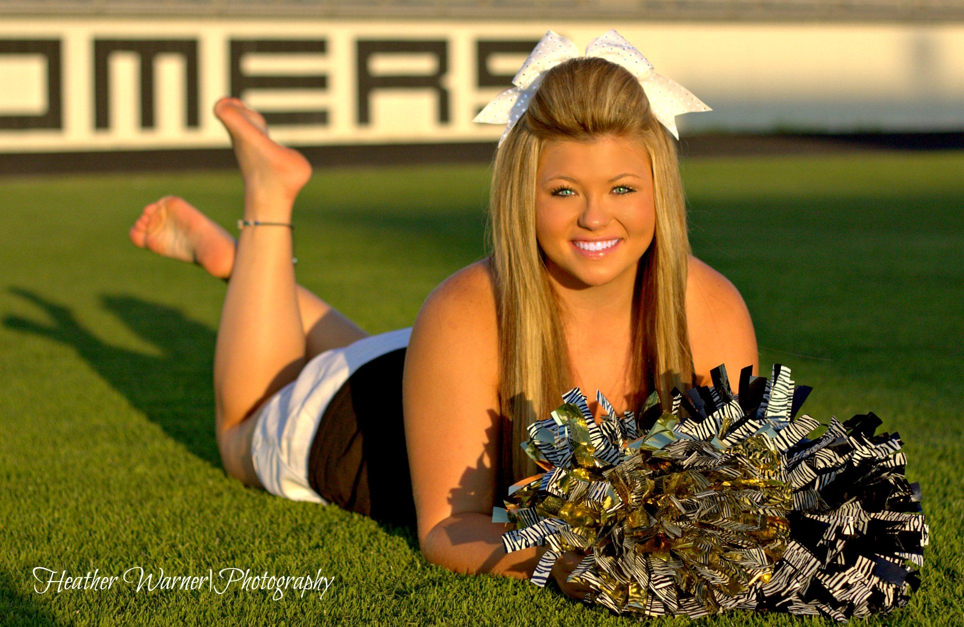Barefoot Senior Cheerleader Portrait Poses