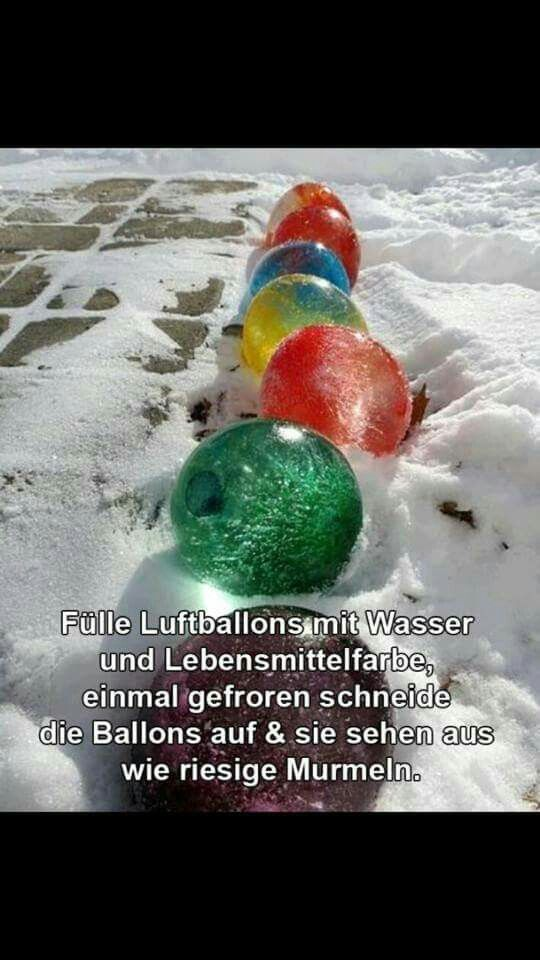 Luftballons in Eis