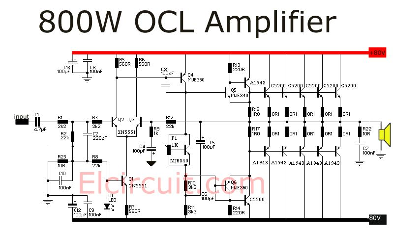 800 Watt power amplifier OCL ravi Circuit diagram, Stereo
