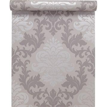 papier peint papier m daillon gris larg m leroy merlin d co maison pinterest salons. Black Bedroom Furniture Sets. Home Design Ideas