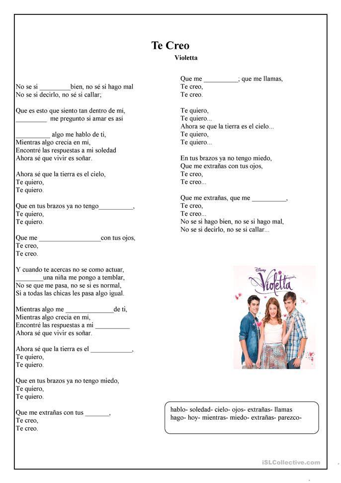 Musica Te Creo Canciones De Violetta Canciones Hablar Español
