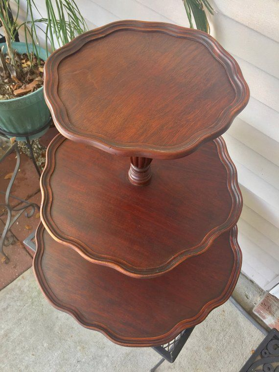 Cake Stand Dessert Cupcake Wood Stand Food Display 3 Tier Mahogany Plant Decor Event Wedding Shower Tabletop Dumbwaiter Plant Decor Decor Dining Decor