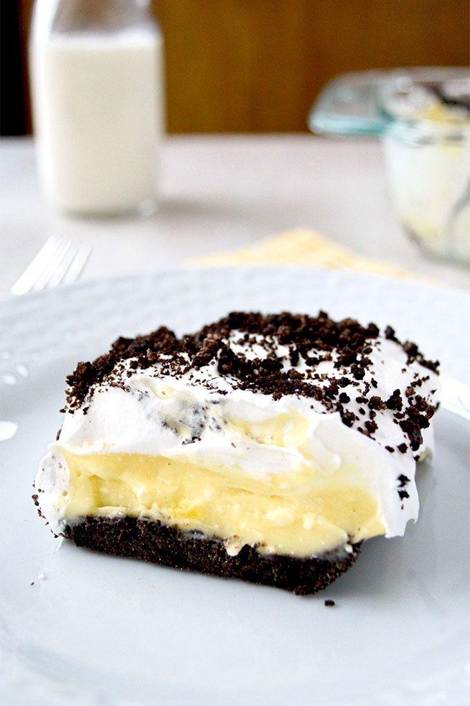 Oreo Cake layers of pudding cream cheese and whipped cream