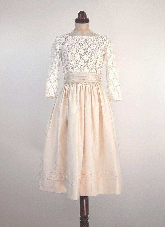 creme spitze und baumwolle kleid vintage von