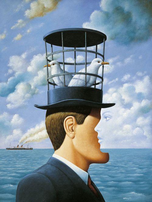 "Rafal Olbinski (Polish, b. 1943) "" Memories from Hampton - Oil on canvas """