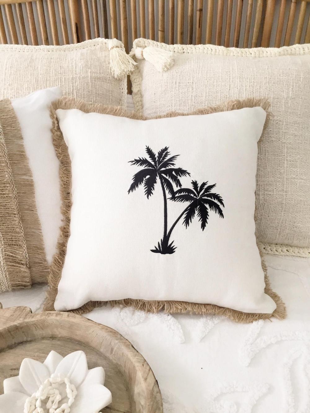 Island Boho Embroidered Palm Tree Cushion Cover   Palm tree ...