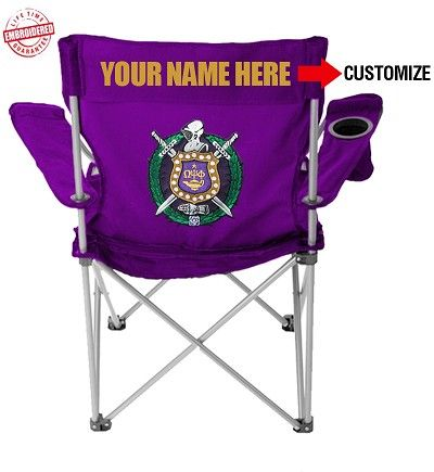 8f03028623c Purple Omega Psi Phi folding lawn chair with customizable text the crest  embroidered on the back.  89.99