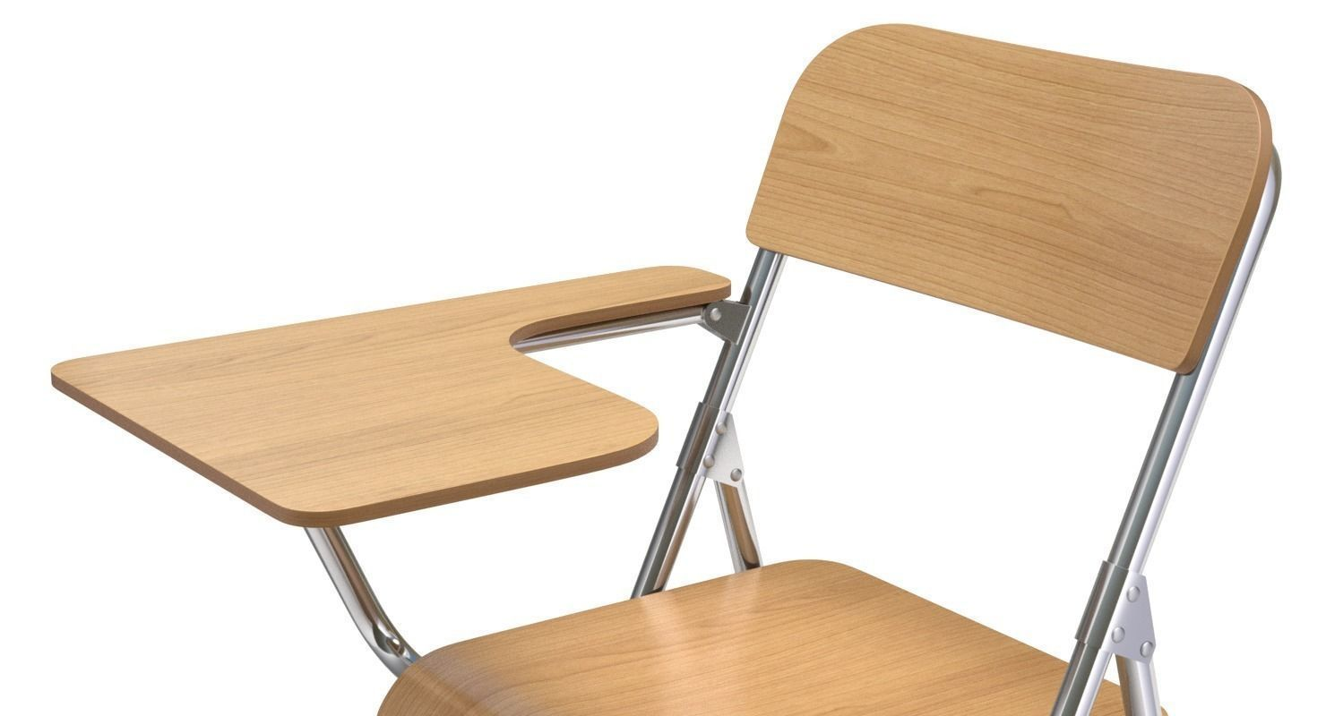 wooden student chair with desk and armrest 3d model obj fbx ...