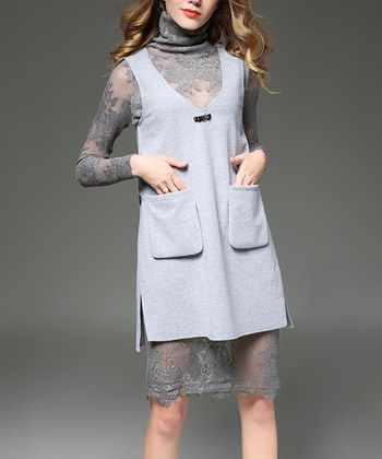 Gray Lace Turtleneck Dress & Overlay