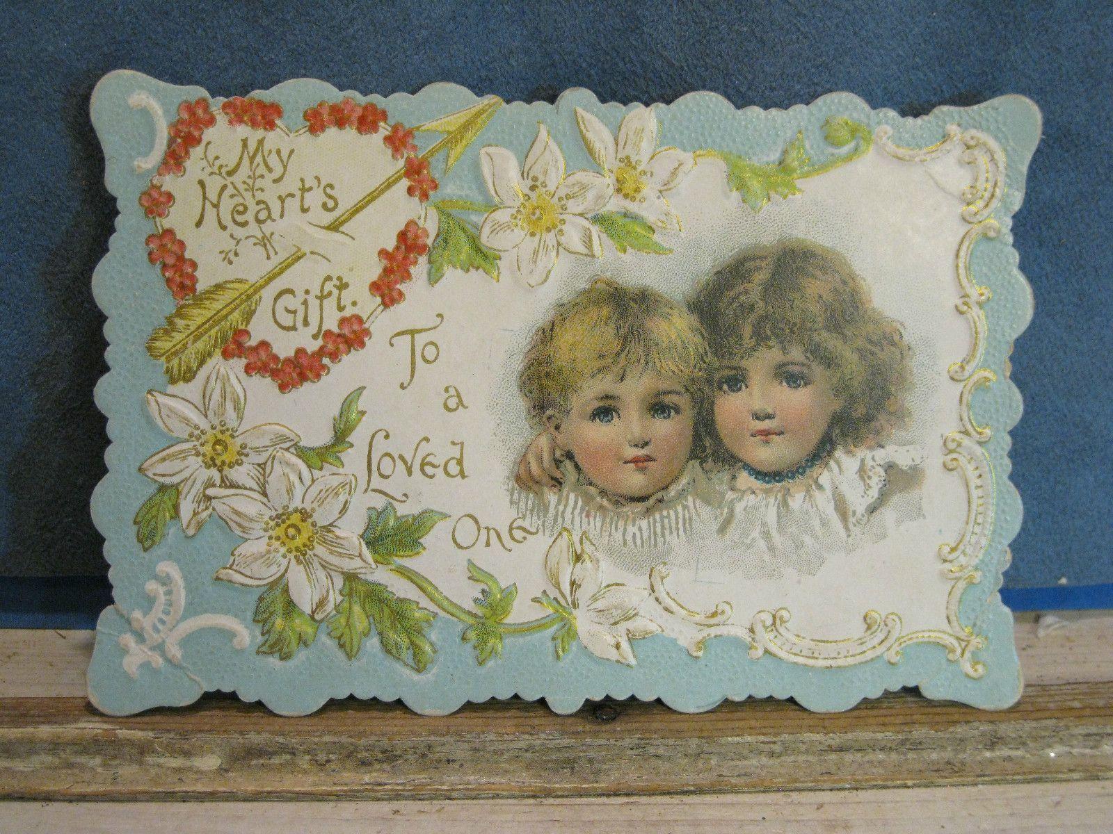 Vintage Victorian Exquisite Diecut Valentine Children Picture Greeting on Back | eBay
