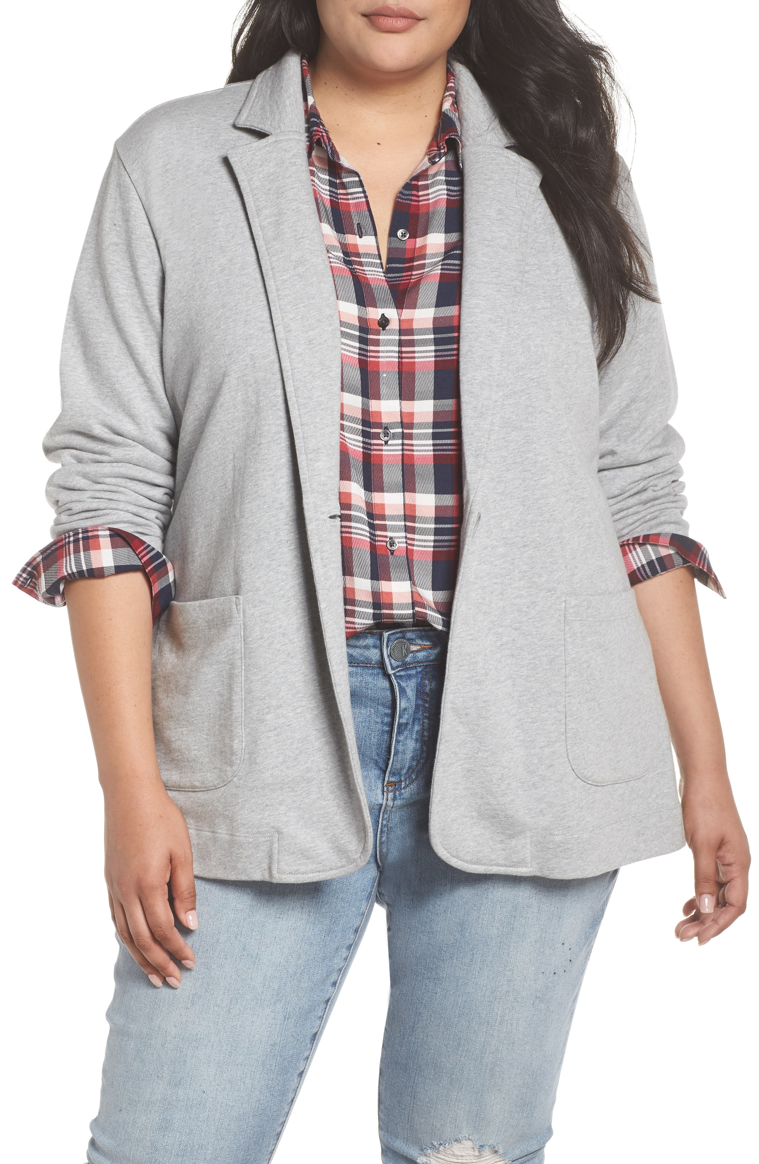 bebef523e Plus Size Women's Caslon Double Pocket Knit Blazer, Size 3X - Grey Knit  Blazer