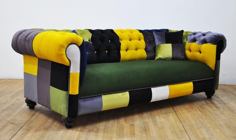 Chesterfield Patchwork Sofa Color Palette Etsy Sofa Colors Patchwork Sofa Sofa