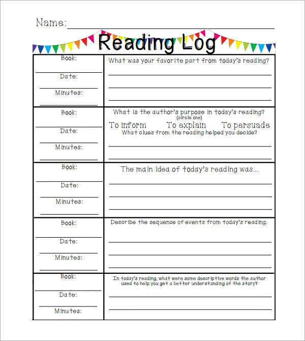 Reading Log Template Elementary  Nd Grade Ela