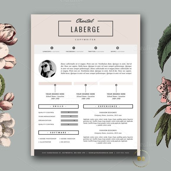 3 Page Resume Template for MS Word by Botanica Paperie on - fashion resume template