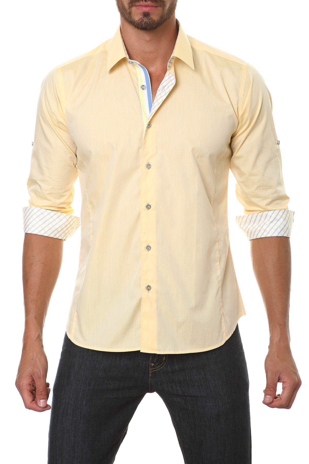 Yellow dress shirt men  Long Sleeve Contrast Trim SemiFitted Shirt  Products