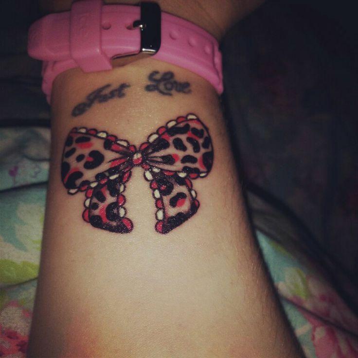 wrist tattoo bow tattoo leopard print girly pretty tattoos rh pinterest com Leopard Hair Bow leopard print bow tattoo designs