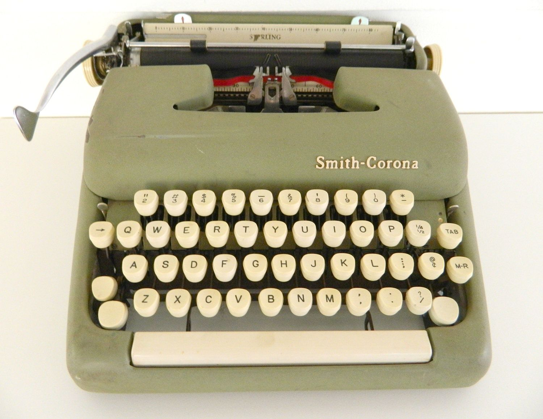 Smith Corona Typewriter Sterling Manual Green. $95.00, via Etsy.