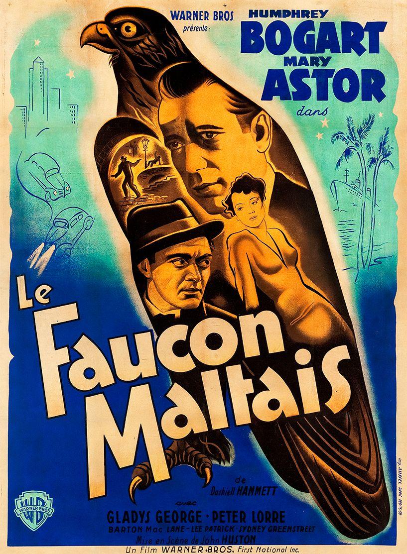 The Maltese Falcon 1940s French Vintage Movie Poster Movie Posters Vintage French Movie Posters Maltese Falcon Movie