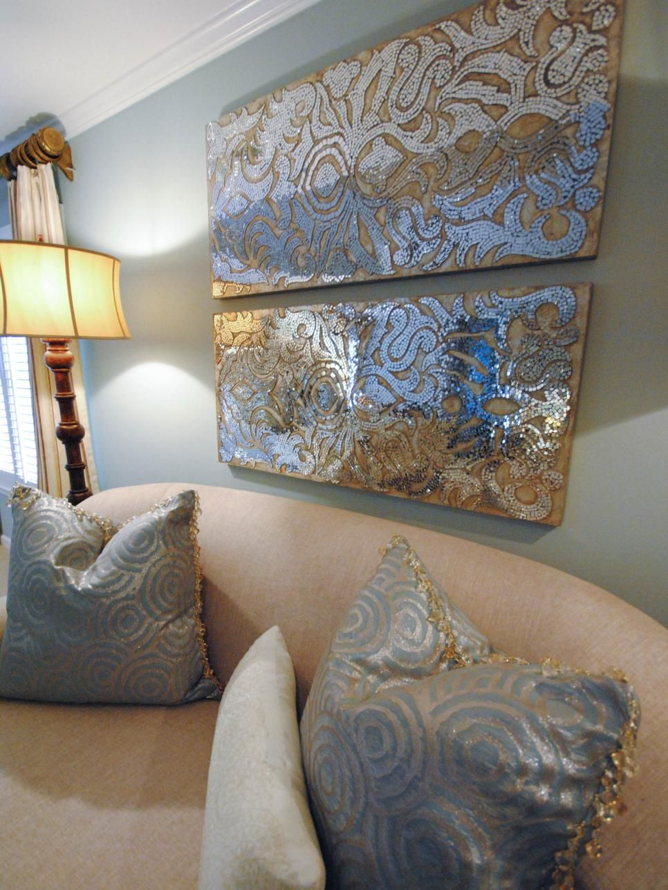 Sequined wall art adds glamorous appeal to the bedroom home