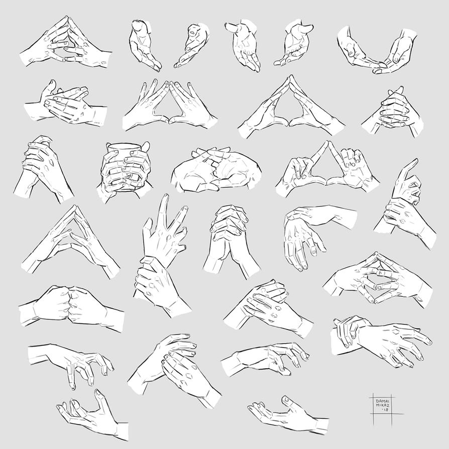 Sketchdump May 2018 Both Hands By Damaimikaz Hand Reference Hand Drawing Reference Art Reference Photos