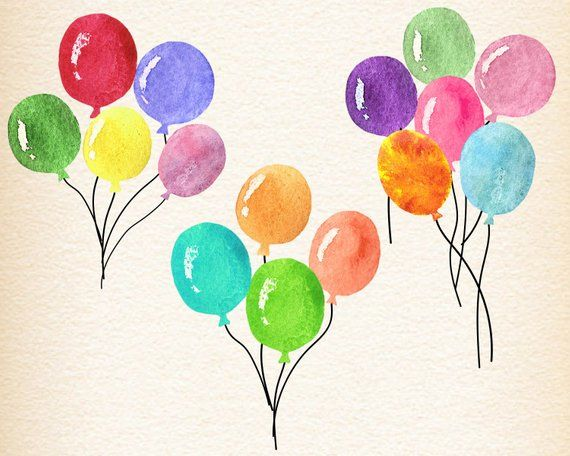 Balloons watercolor. Watercolour balloon clipart birthday
