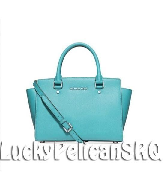 MICHAEL KORS Selma Medium Saffiano Leather Satchel Bag  Aquamarine Blue  NWT #MichaelKors #Satchel