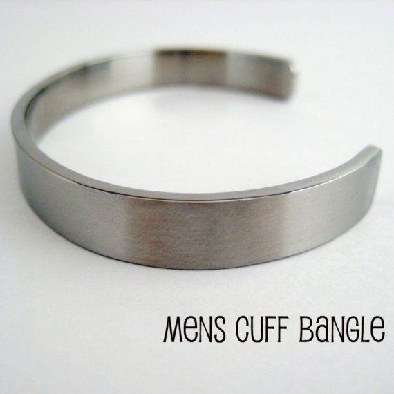 Cuff Bangle Bracelet For Men Silver Stainless Steel Bracelet